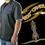 Latest  Craze Workshirt - Pinstripe Logo