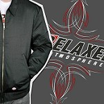 Relaxed Atmosphere Jacket - Pinstripe Fabric Logo Over-sized Embroidery